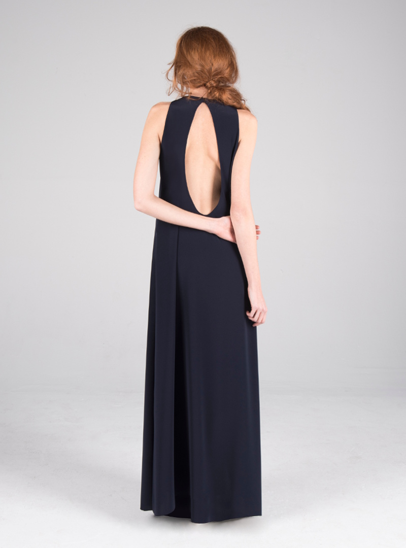 Original party dress by CRISTINA SAURA with teardrop neckline on the back.