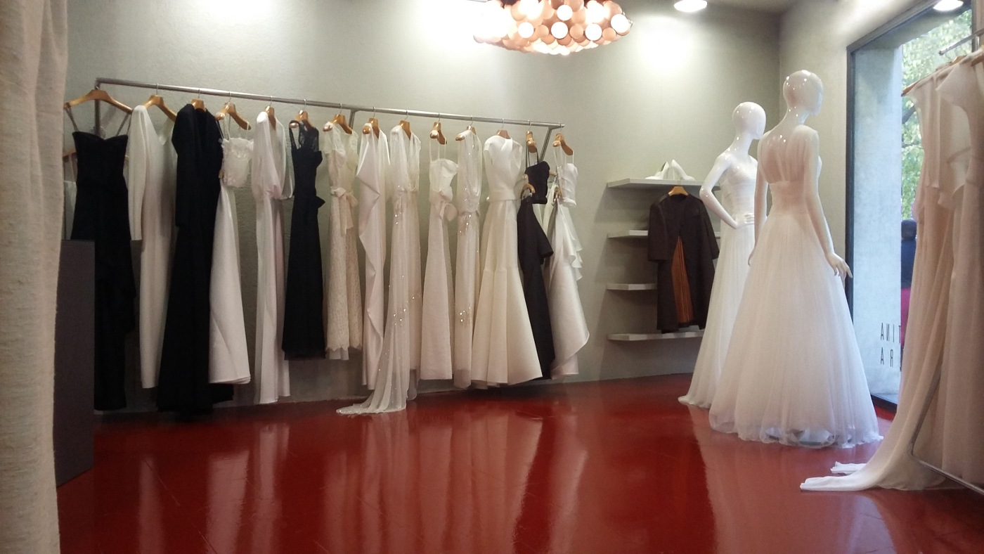 Attractive sales room of CRISTINA SAURA's bridal shop in Barcelona.